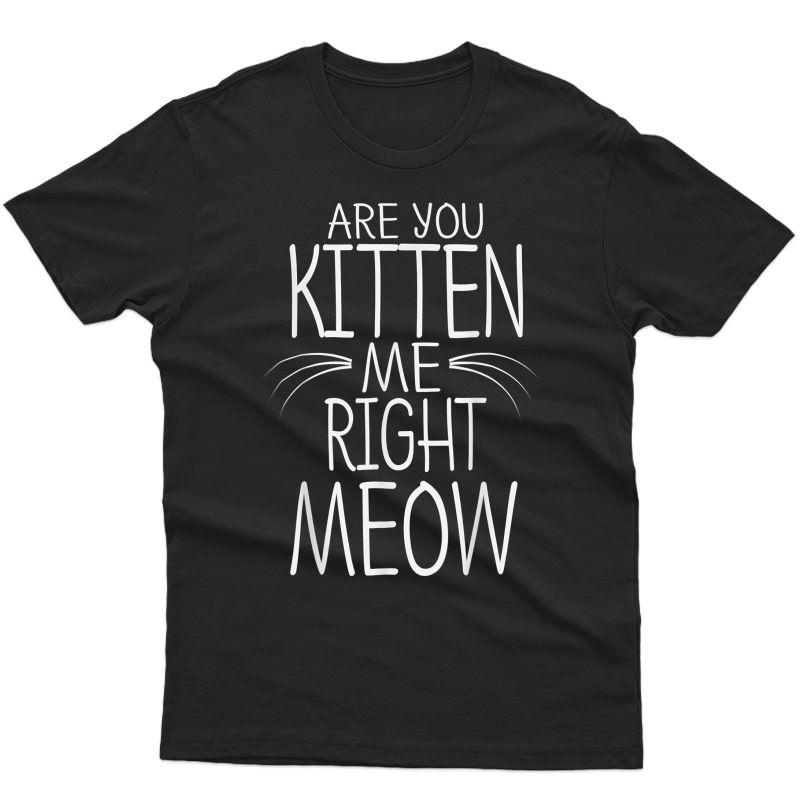 Are You Kitten Me Right Meow T-shirt Funny Cat Joke Tee T-shirt