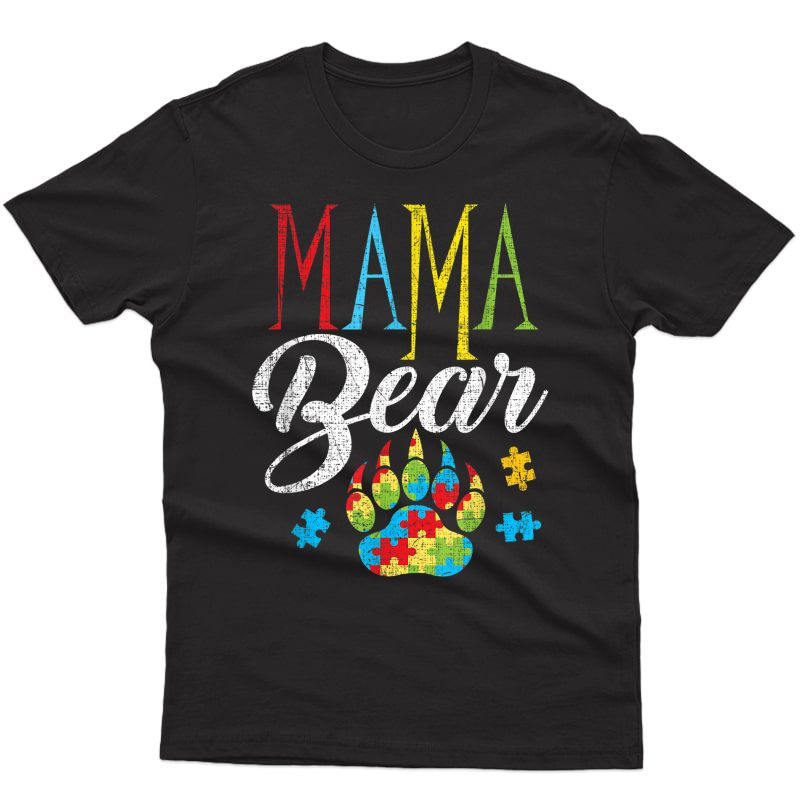 Autism Mama Bear Puzzle Piece Child Grunge Autistic T-shirt
