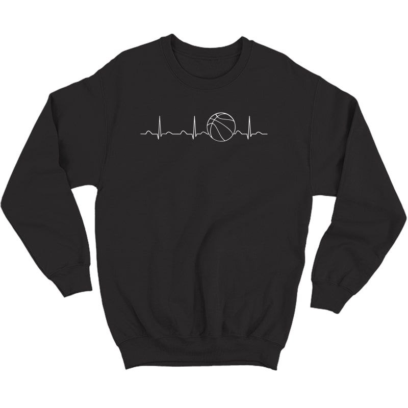 Basketball Heartbeat Shirt, Funny Player Team Coach Gift Crewneck Sweater