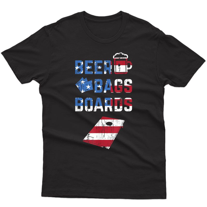 Beer Bags Boards United States Flag Cornhole T-shirt
