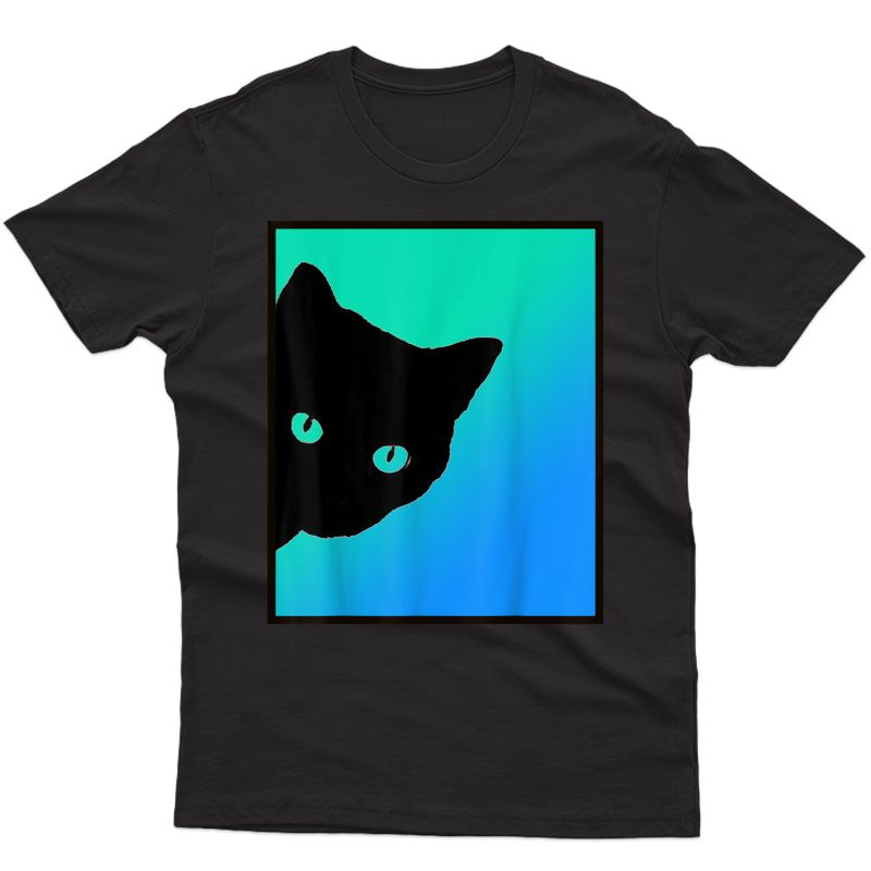 Black Cat Blue Green T Shirt Designed By Cats Made Better