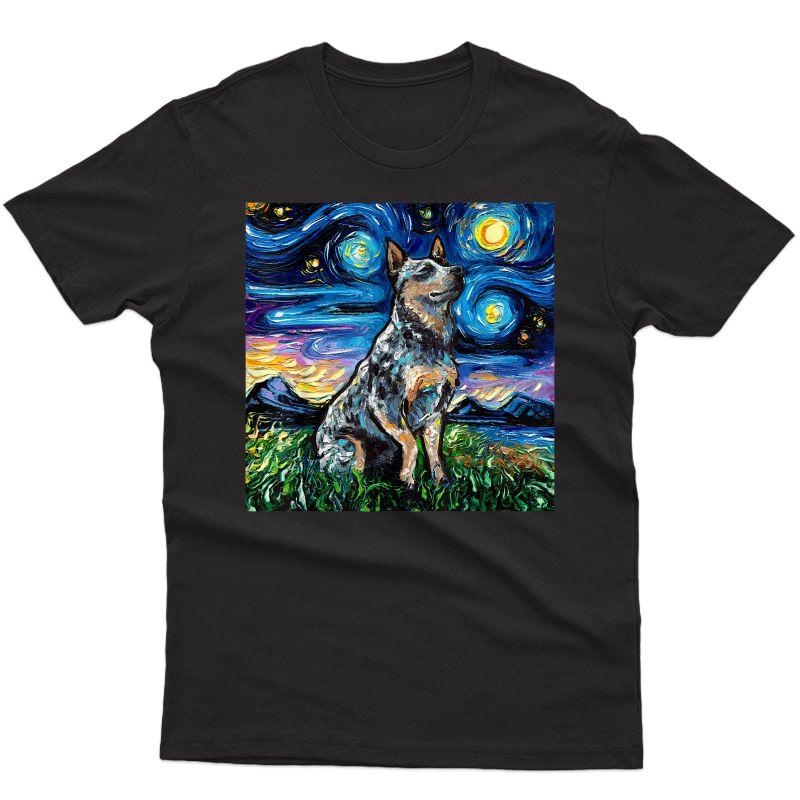 Blue Heeler Starry Night Australian Cattle Dog Art By Aja T-shirt