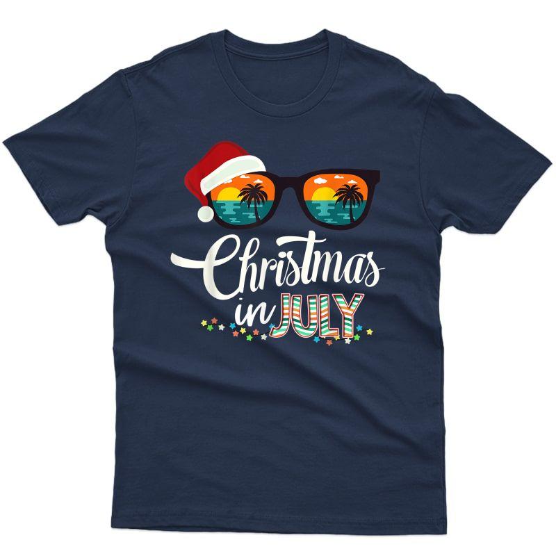 Christmas In July Santa Hat Sunglasses Hawaii Summer T-shirt