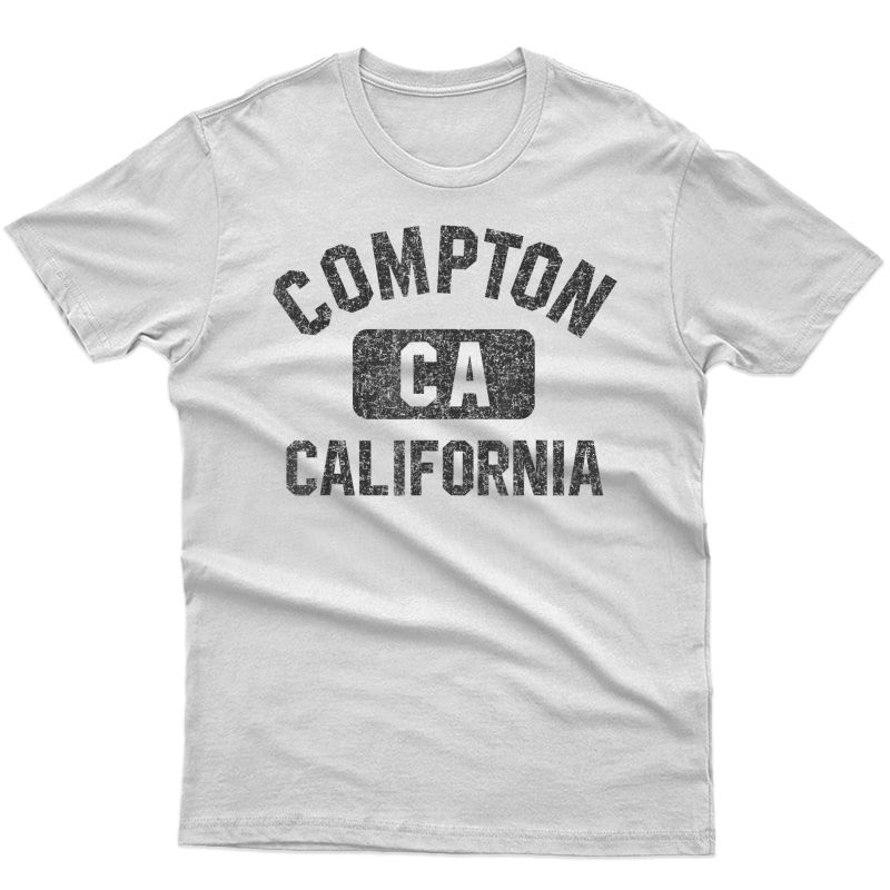 Compton Ca Gym Style Black With Distressed Black Print T-shirt