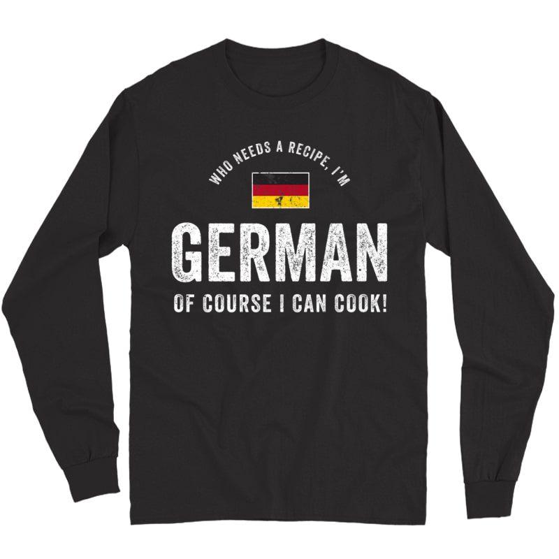 German Food Chef Flag Cute Funny Cooking T-shirt Long Sleeve T-shirt