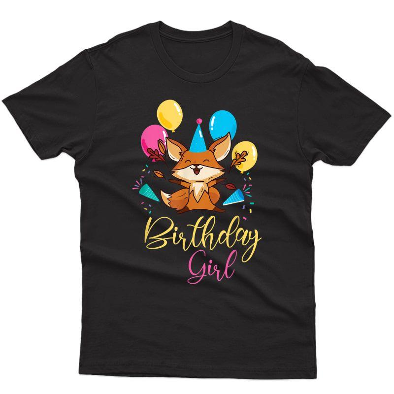 Girls Animal Lovers Birthday Girl Fox Themed B-day Party T-shirt