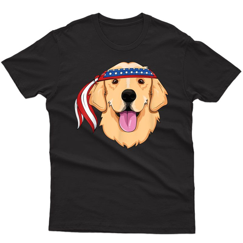 Golden Retriever 4th Of July Family Dog Patriotic American T-shirt