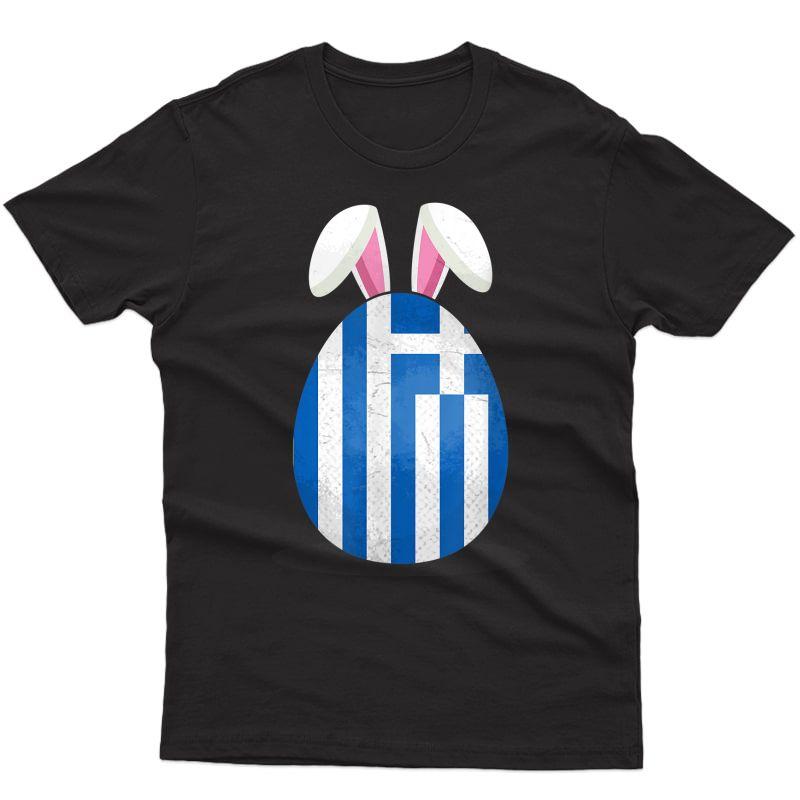 Greece Flag Egg Bunny Ears Greek Easter Sunday T-shirt