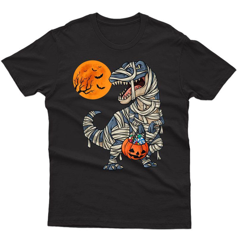 Halloween Dinosaur Mummy T Rex Scary Teens T-shirt