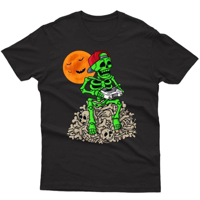 Halloween Skeleton Gamer Teens Gaming T-shirt
