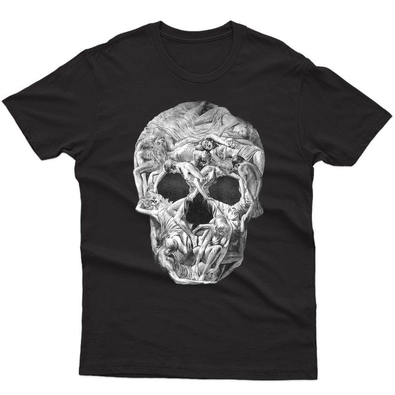 Look Twice Super Creepy Human Skull Halloween Skull Illusion T-shirt