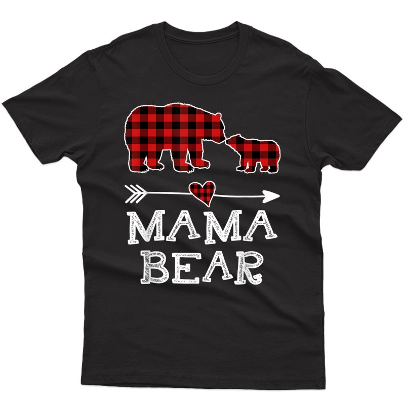 Mama Bear Christmas Pajama Red Plaid Buffalo Family Gift T-shirt