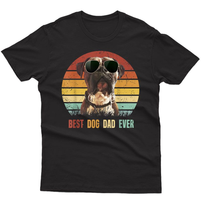 S Vintage Best Dog Dad Ever Boxer Dog Tshirt Fathers Day Gifts