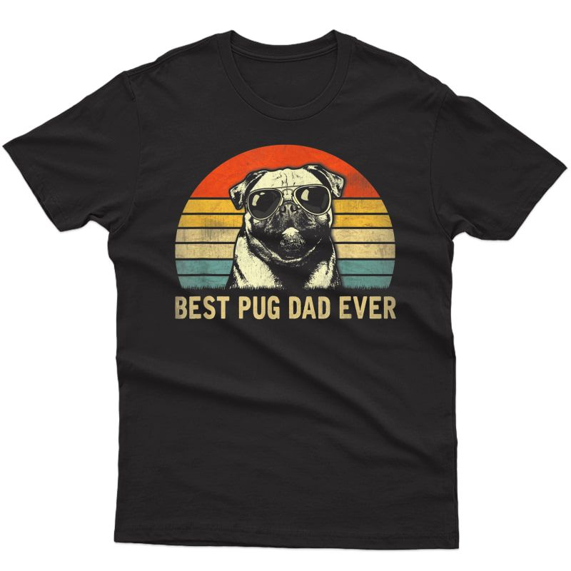 S Vintage Best Pug Dad Ever T-shirt, Boxer Lover Father's Day T-shirt