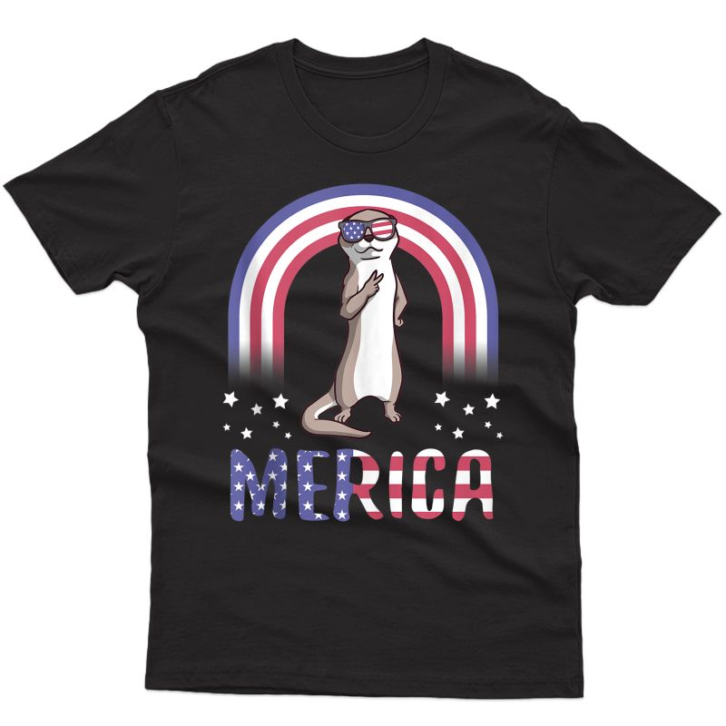 Merica Sea Otter Usa American Flag 4th Of July Cute Gift Tank Top Shirts