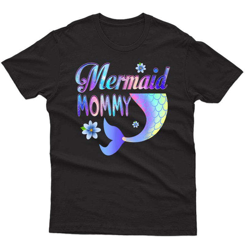 Mermaid Mommy Funny Mermaid Mom Matching Party T-shirt