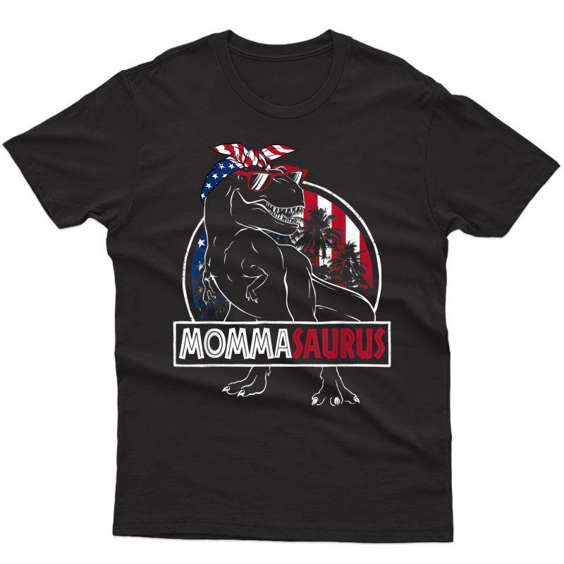 Mommasaurus Dinosaur Rex Mama American Flag Momma Saurus T-shirt