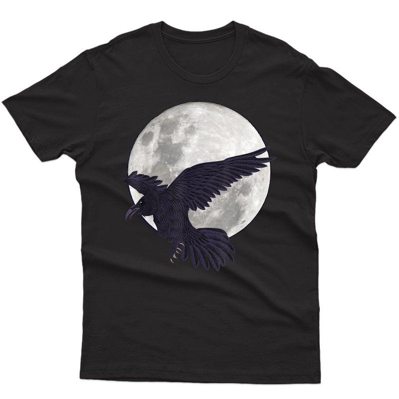 Night Creepy Crow Animal Bird Gothic Full Moon Black Raven T-shirt