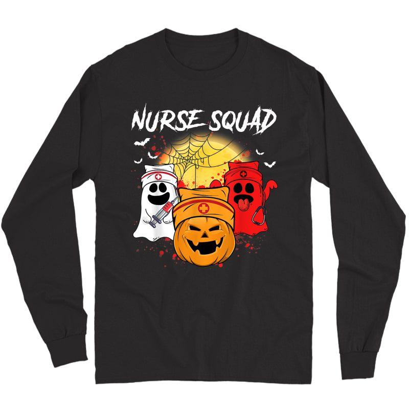 Nurse Squad Funny Boo Pumpkin Halloween Costume Gifts T-shirt Long Sleeve T-shirt