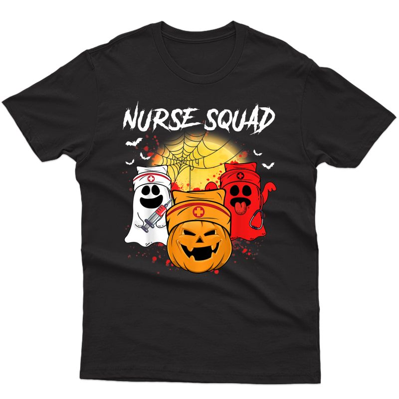 Nurse Squad Funny Boo Pumpkin Halloween Costume Gifts T-shirt