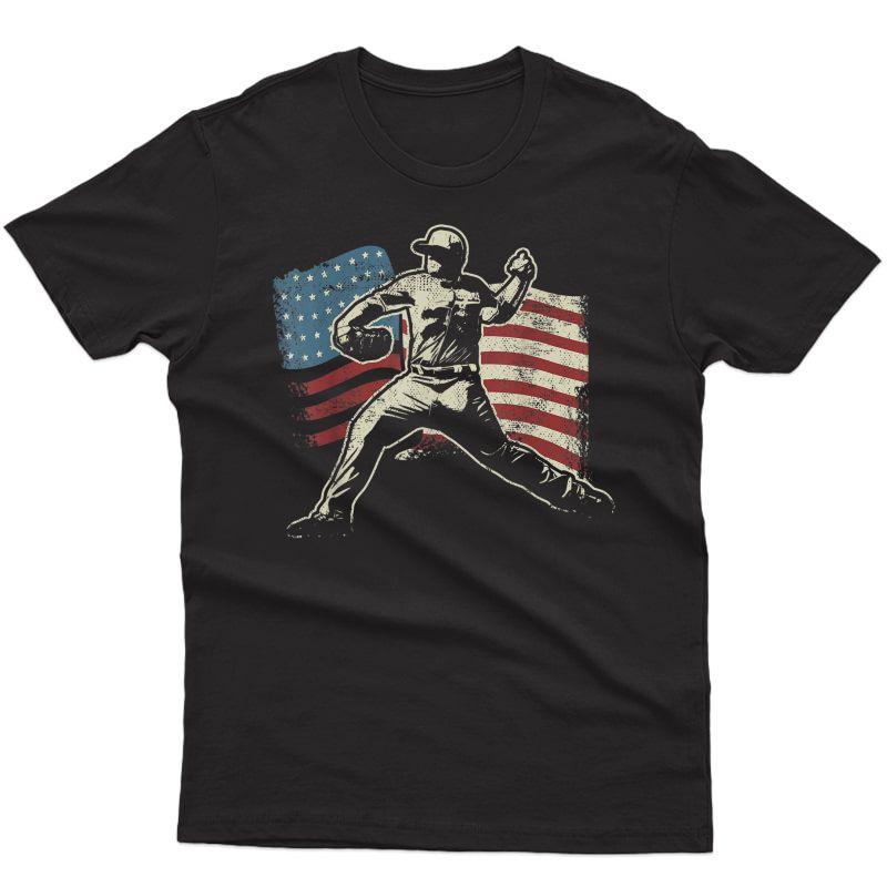 Patriotic American Flag Baseball Design, Baseball Design T-shirt