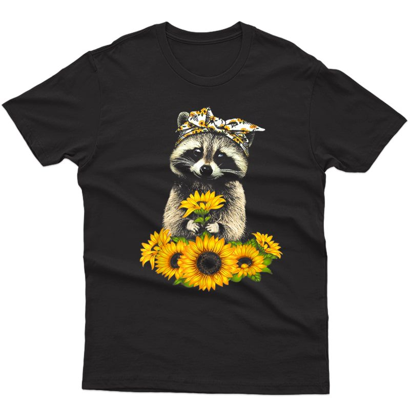 Raccoon With Sunflower Hippie T-shirt Gift