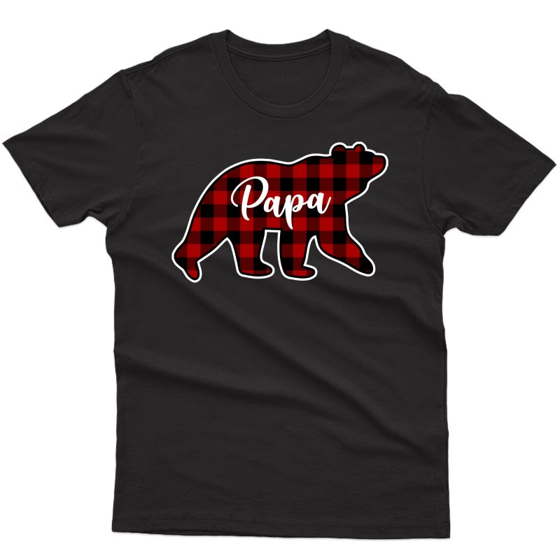 Red Plaid Papa Bear Matching Family Group Pullover Shirts