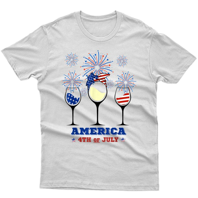 Red Blue Wine Glasses America 4th Of July Shirts Gift
