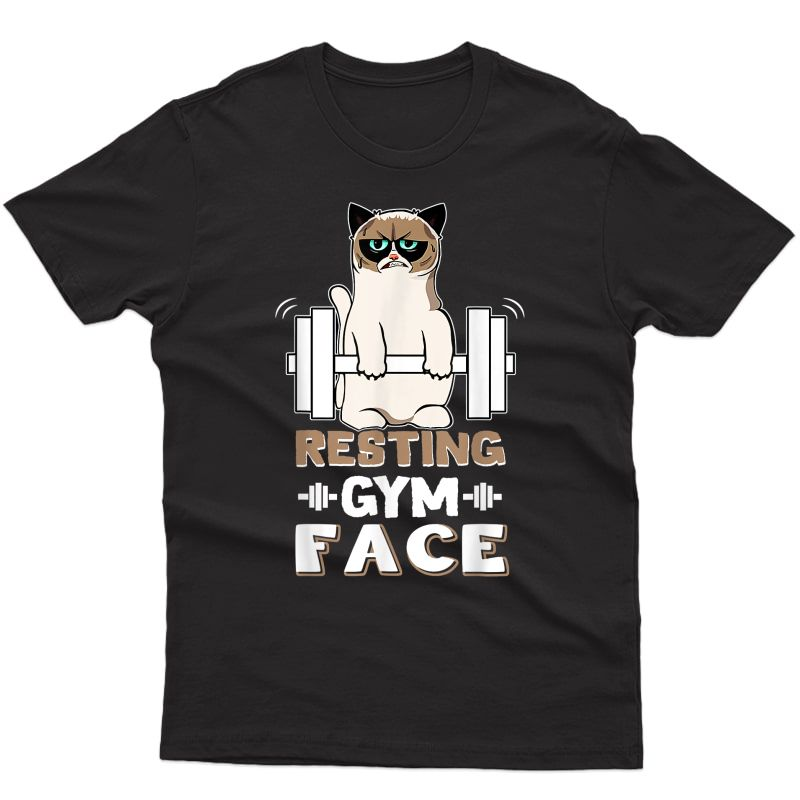 Resting Gym Face T-shirt Gymer Funny Cats Lift The Weight