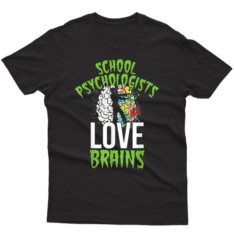 School Psychologists Love Brains Halloween Tea Counselor T-shirt