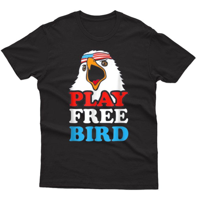 Vintage Play Free Bird Bald Eagle American T-shirt