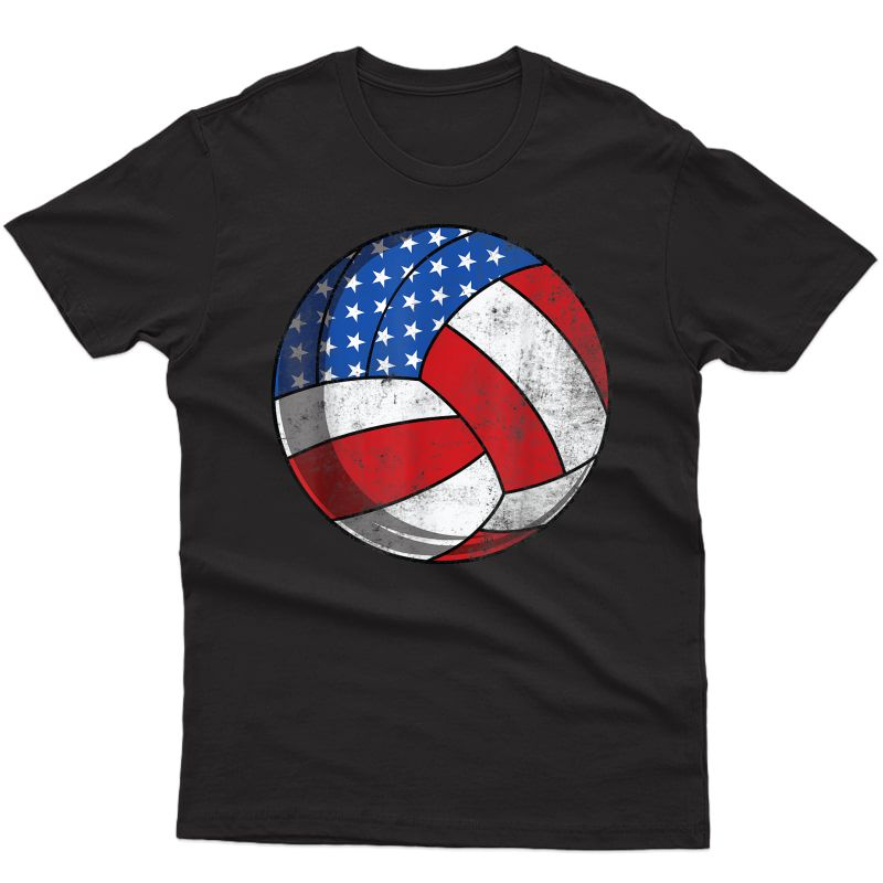 Volleyball 4th Of July American Flag Patriotic T-shirt
