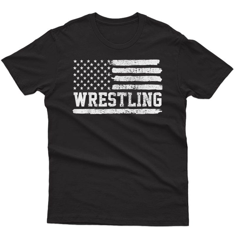 Wrestling Usa Flag Vintage T-shirt